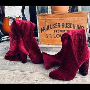 Aldo maroon velvet thigh high heeled boots